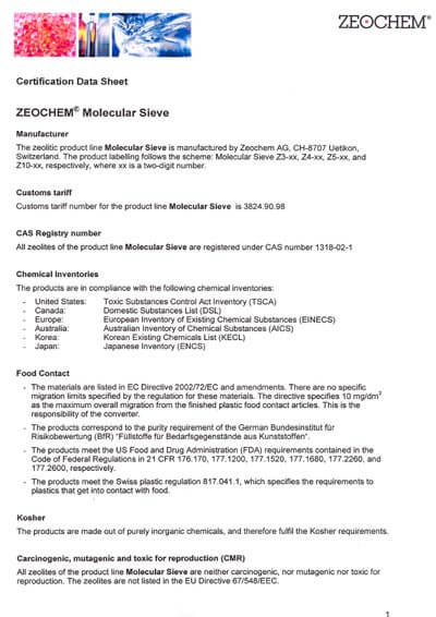 Certification data sheet_for Molecular Sieves