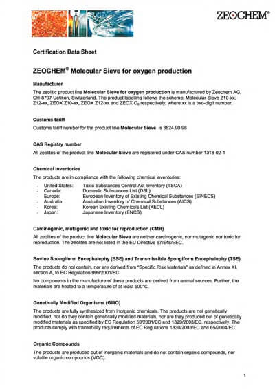 Certification data sheet for Molecular Sieves for oxygen pro